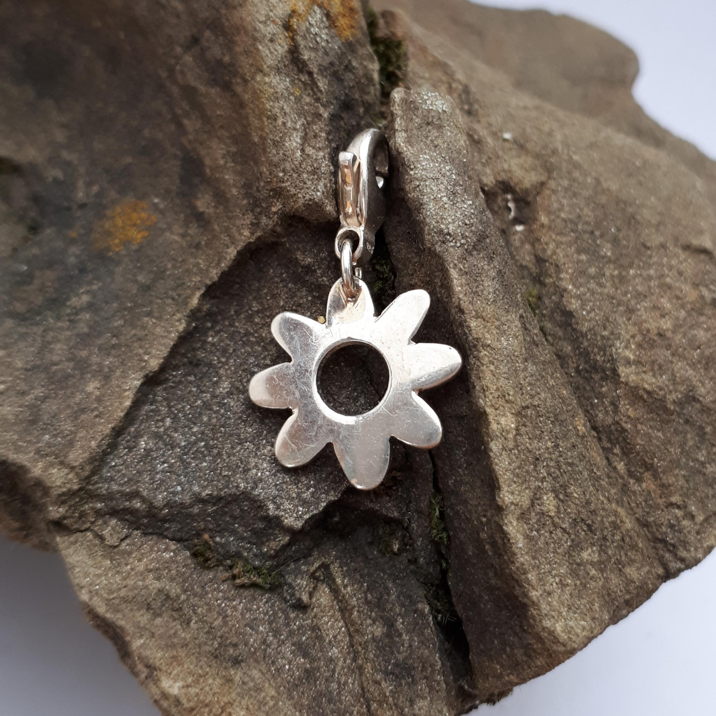 Anhänger Blume, poliert, Silber