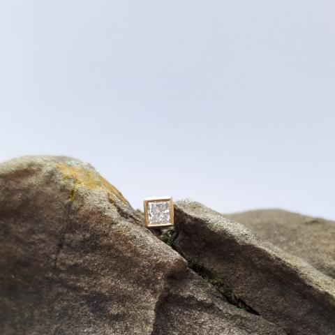 Diamantstecker Gold, quadratisch