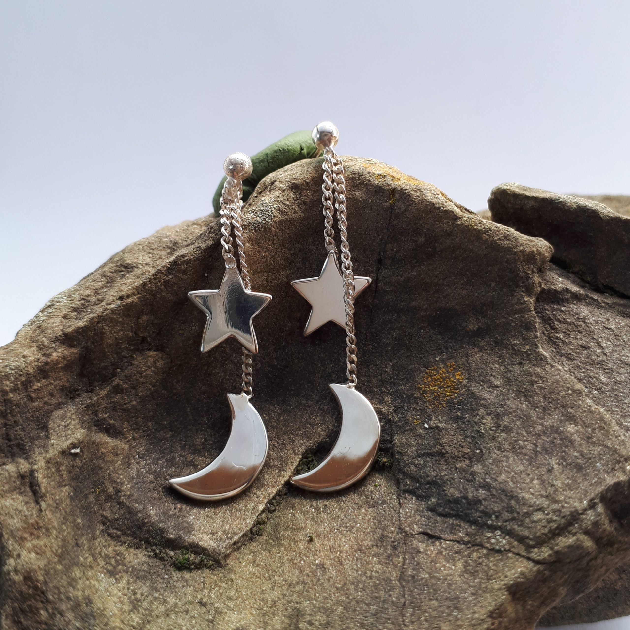 Mond und Sterne, Ohrhänger Silber