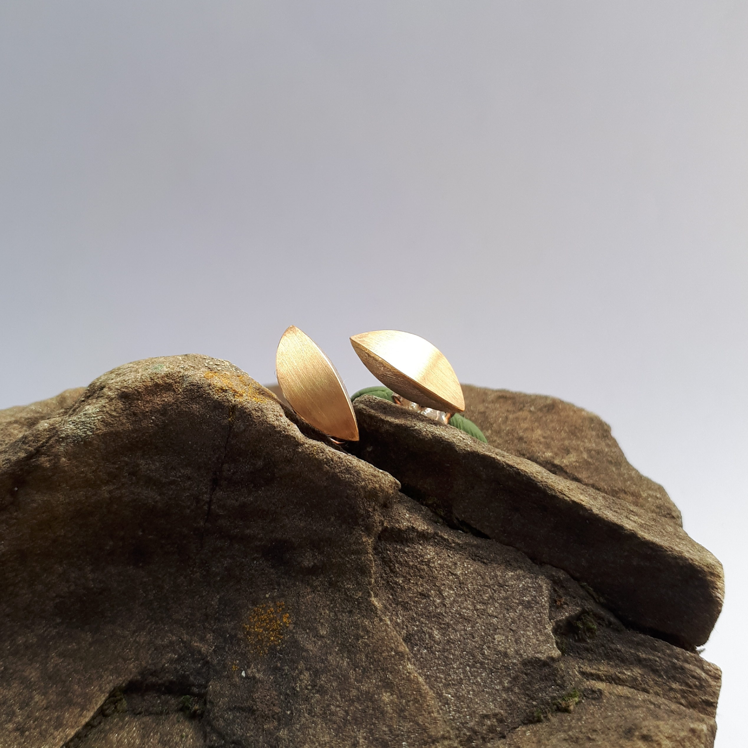 Navetteohrstecker, Silber mit Gold belötet