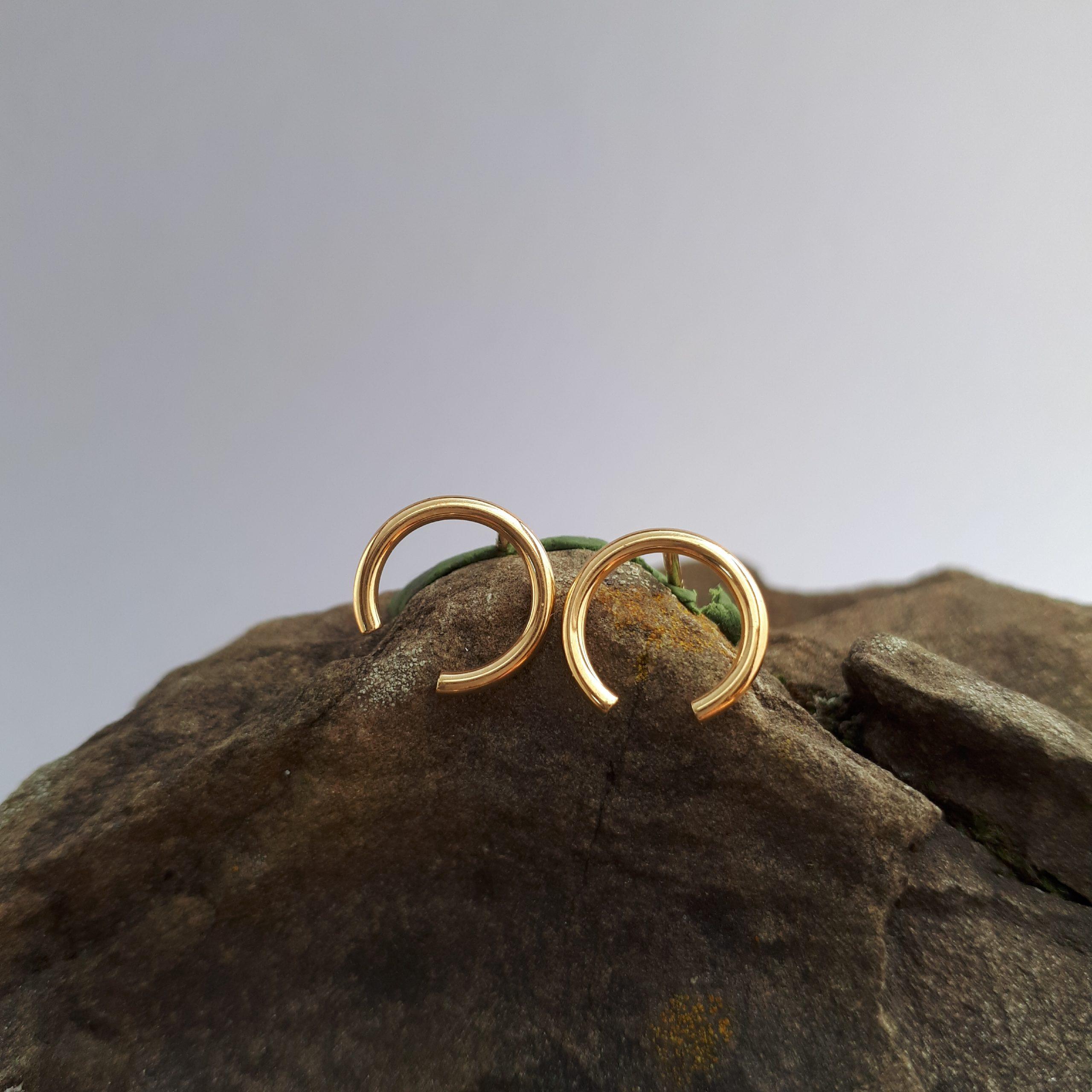 LINES, Ohrstecker rund, Gold